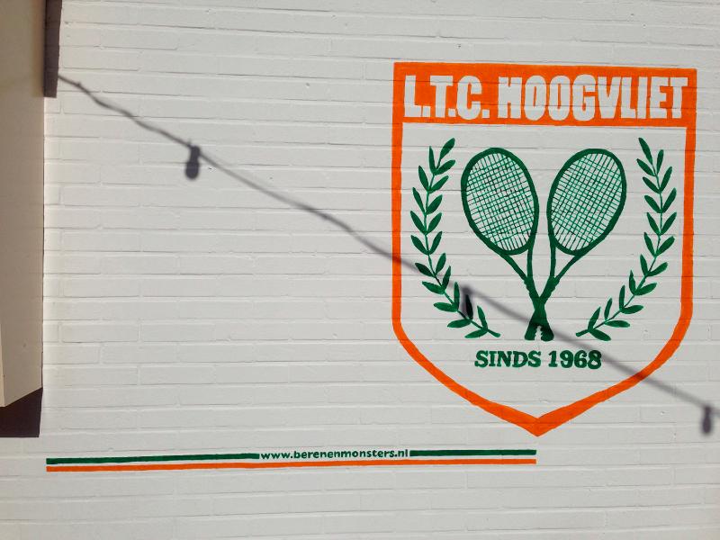muurschildering logo tennis