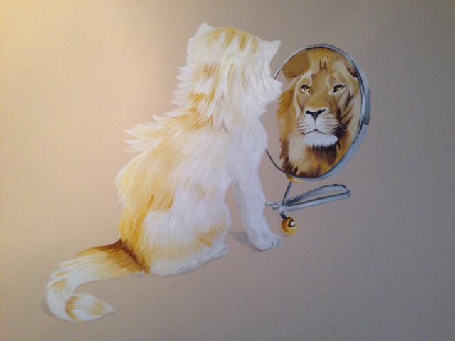 leeuw en kat_viktor muurschildering