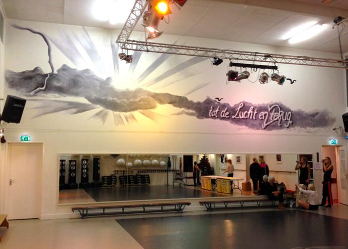 Muurschildering Dansschool Marleen