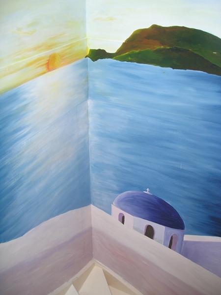 grieks trapgat muurschildering